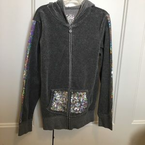 Girls size 10 Justice gray sequins animal hoodie